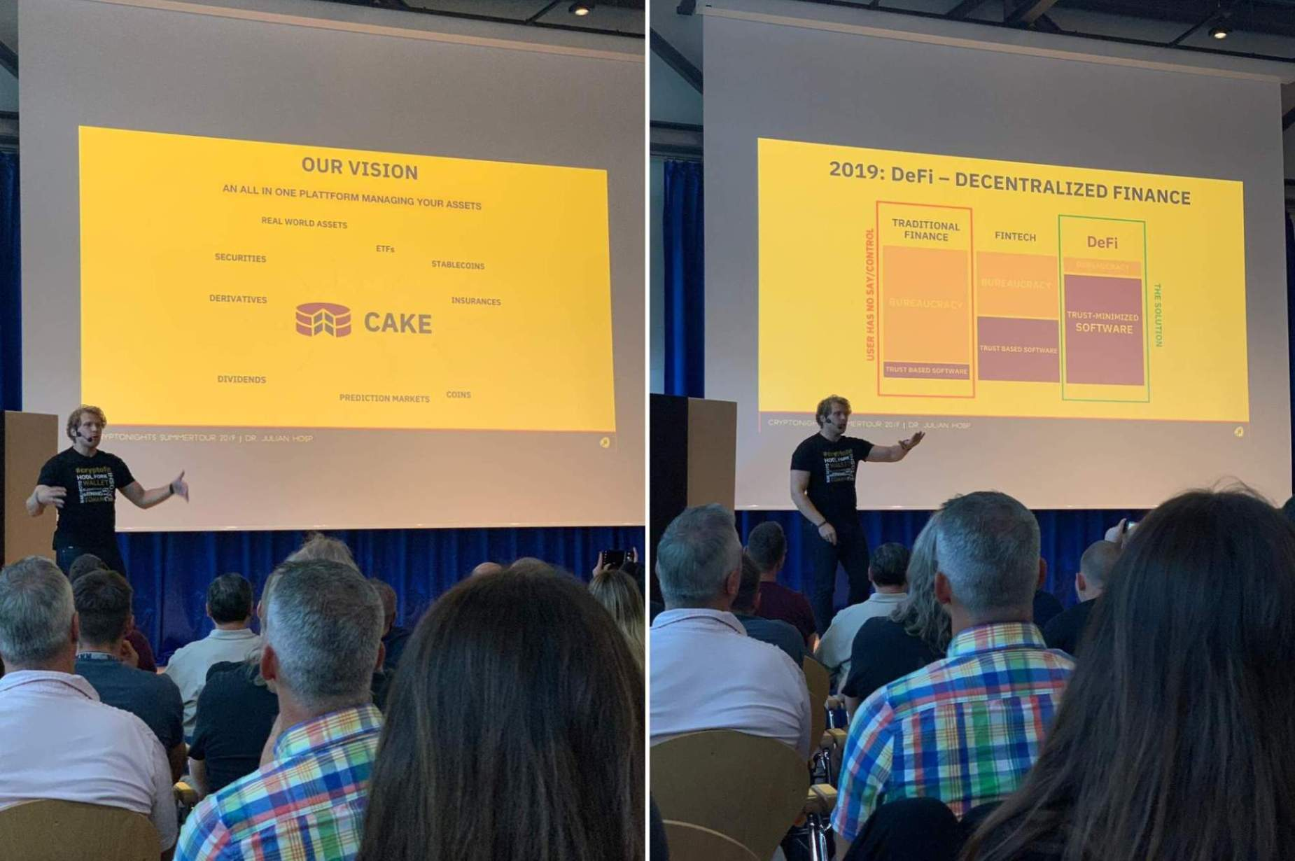 Julian Hosp spricht auf der Cryptonight in Berlin.