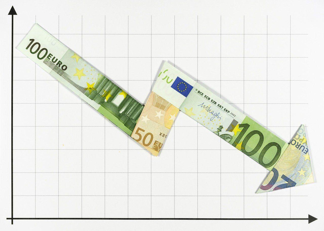 Negativzinsen Fallender Chart mit Euroschienen gezeichnet