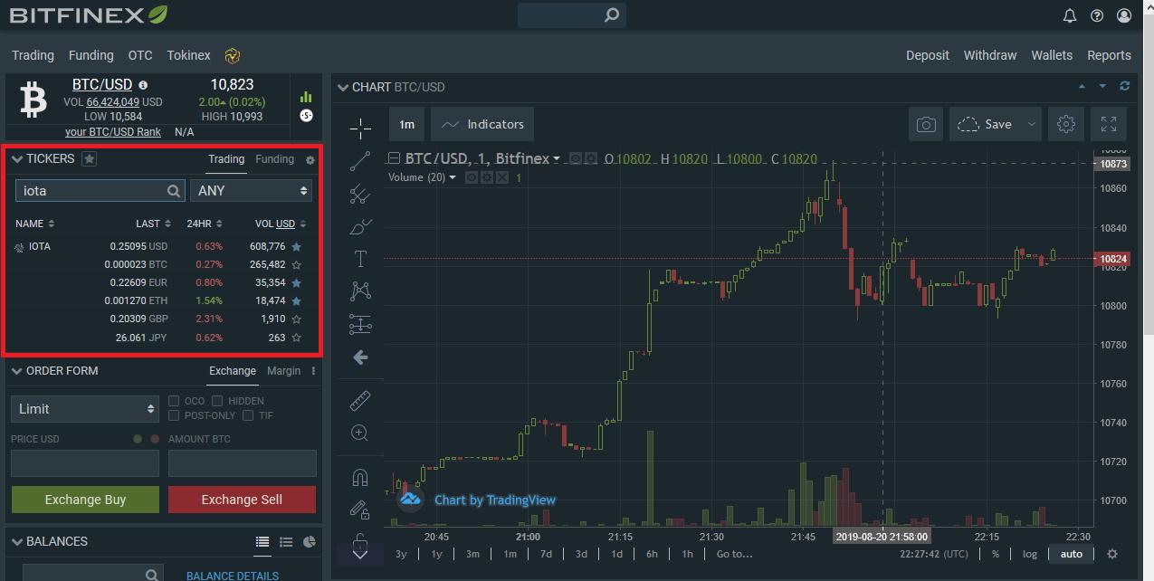 Iota buy on Bitfinex