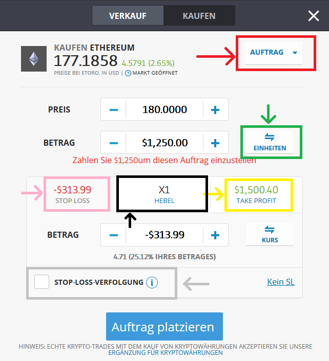 Ethereum kaufen: Tradingfenster