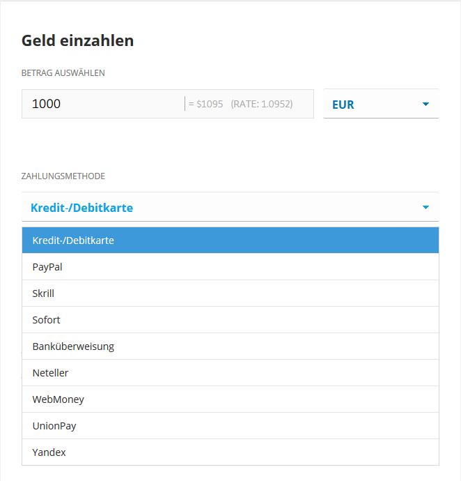 Ethereum kaufen: Auswahl Zahlungsart eToro