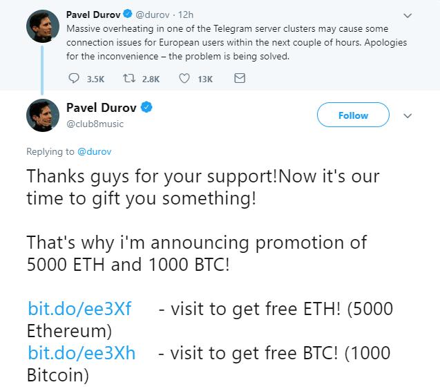 fake telegram ceo tweet crypto giveaway